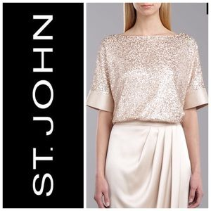 St. John Black Label Sequined Tulle Top Size S